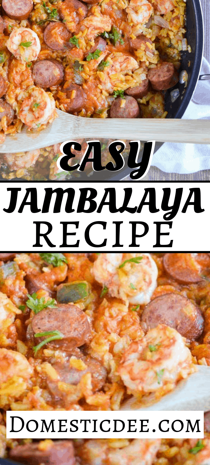 This easy jambalaya recipe is a classic dish of Louisiana. It contains turkey smoked sausage, shrimp, and rice with a ton of flavor all while still being an easy jambalaya recipe to make for your family.