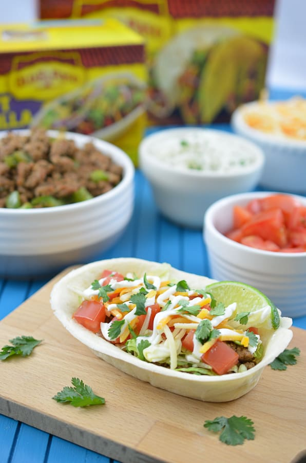 Turkey Taco Boats-Spice up your next Cinco De Mayo with these delicious Turkey Taco Bowls. Flavorful, ground turkey combines perfectly with an edible Old El Paso Flour Tortilla Taco Boat.Spice up your next Cinco De Mayo up a notch with these delicious Turkey Rice Taco Bowls. Flavorful, ground turkey combines perfectly with homemade cilantro lime rice in an edible Old El Paso Flour Tortilla Taco Boat.