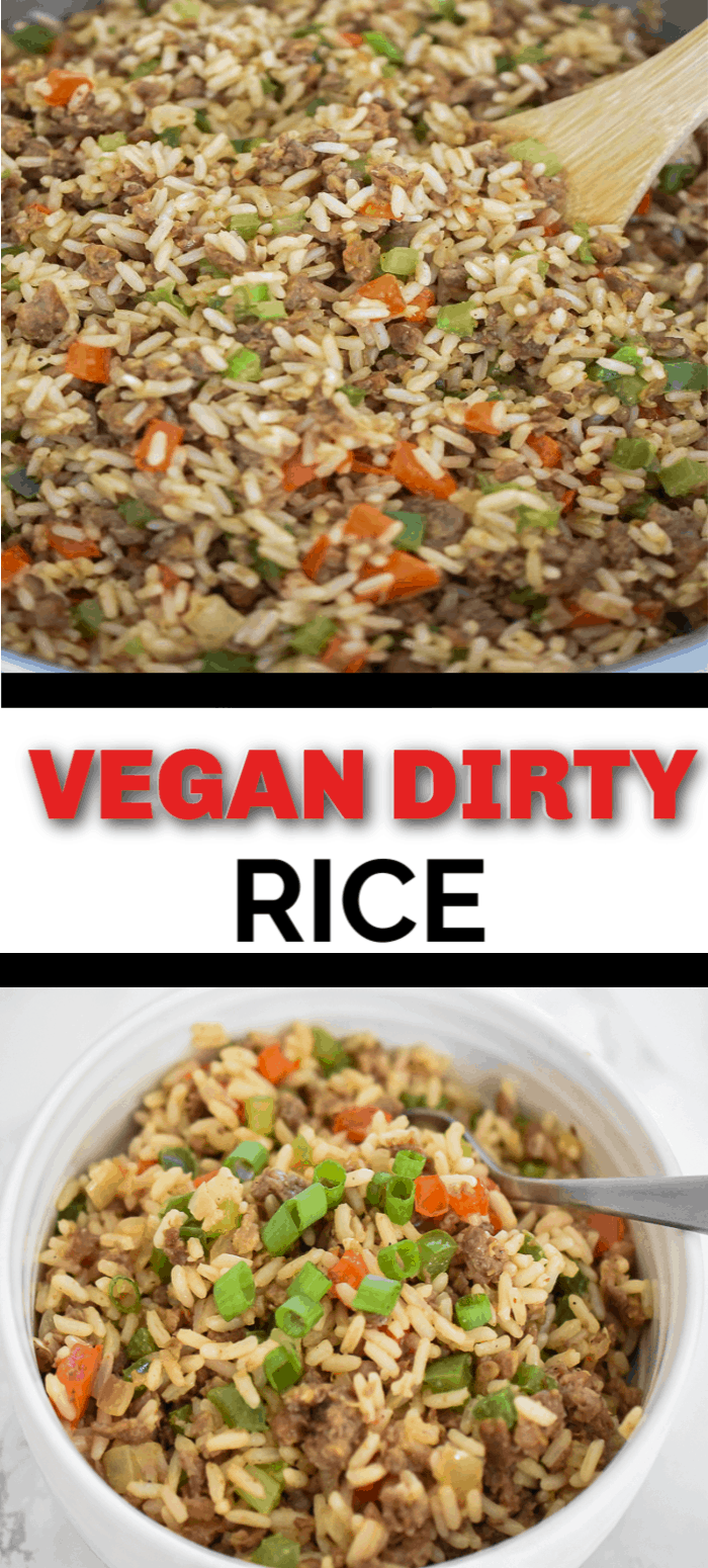 Vegan Dirty Rice– A flavorful vegan dirty rice recipe that cooks up in no time. It's bursting with a delicious flavor you will forget it's meatless. Plant-based ground protein, seasonings, vegetables, and rice makes this classic Southern comfort dish a recipe that you need to try! #plantbased