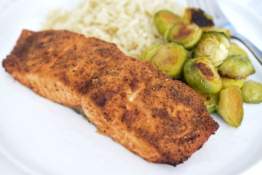 This air fryer salmon is an easy main dish that is delicious and is ready within minutes! The air fryer makes the salmon tender, crispy and juicy in under 15 minutes! This is the perfect main dish to throw together on those busy weeknights.