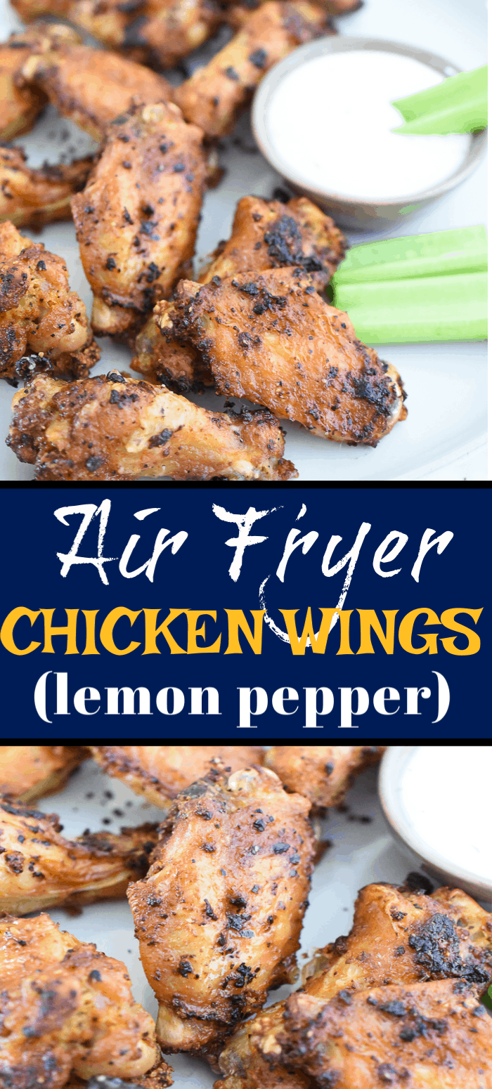 These Air Fryer Lemon Pepper Chicken Wings are juicy, flavorful and extra crispy! Putting these chicken wings in the air fryer is the easiest and best way to get crispy lemon pepper wings without all the grease! You're going to love how succulent these wings are! #airfryer #chickenwings