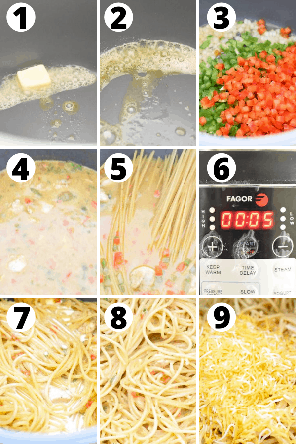 instant pot chicken spaghetti steps