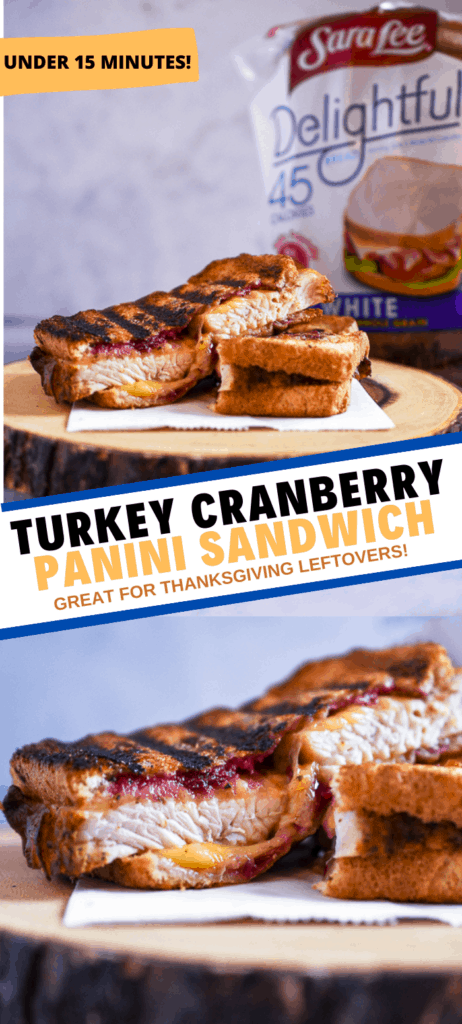 After Thanksgiving I use the leftovers and make this delicious Turkey Cranberry Panini using Sara Lee® Delightful™ White Made with Whole Grain Bread. #saraleebread #MealTimeSavings #HolidayswithSaraLee @walmart @saraleebread