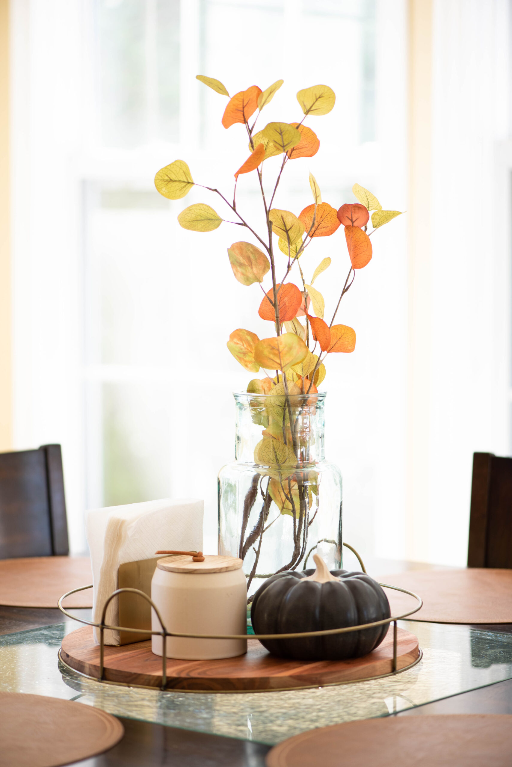 kitchen table with inexpensive fall decor