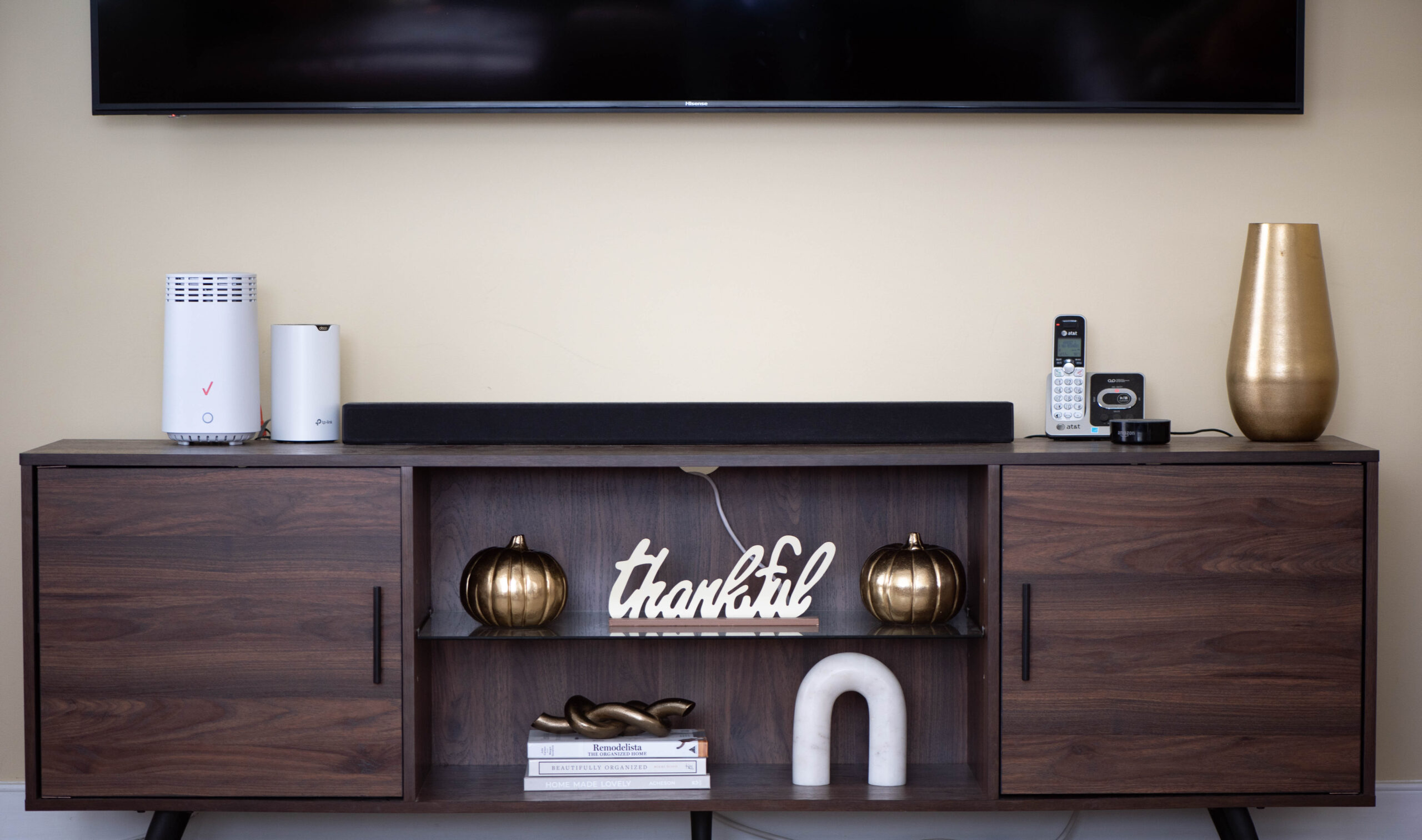 fall decor for tv stand